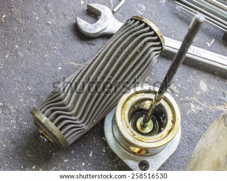 Blocking damage oil filter from overheat and burning lubricant - stock photo
