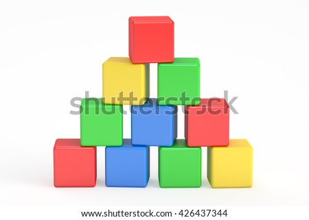 blocks building, cubes. 3D rendering isolated on white background - stock photo