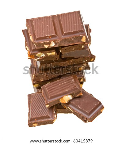Blocks of chocolate isolated on white background