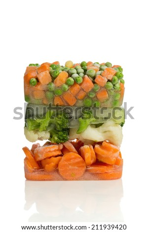 Blocks of frozen vegetables - stock photo