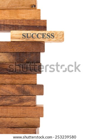 """Blocks of wood with the word """"success"""" isolated on white background.  - stock photo"""