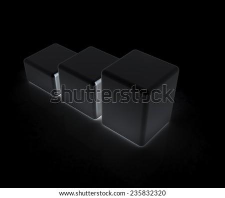 Blocks on a black background - stock photo