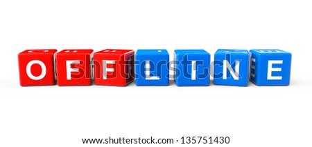 Blocks with Offline sign on a white background - stock photo