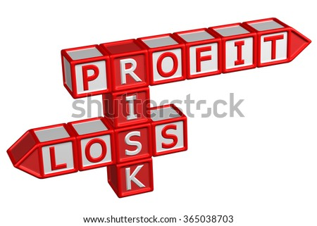 Blocks with word Profit, Risk, Loss, isolated on white background.