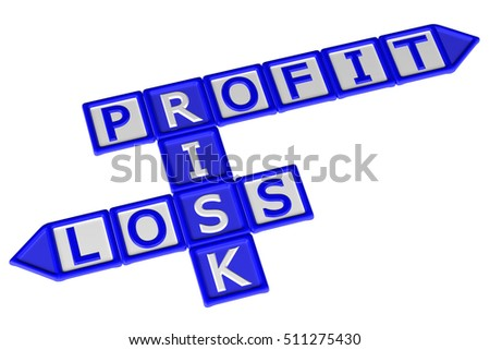 Blocks with word Profit, Risk, Loss, isolated on white background. 3D rendering.