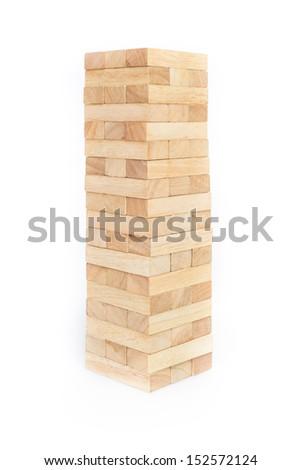 blocks wood game (jenga) on white background. - stock photo
