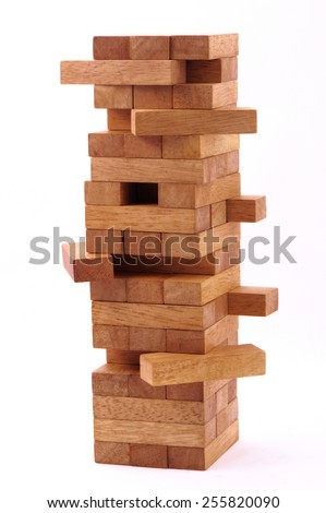 blocks wood game on white background. - stock photo