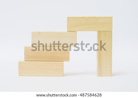 blocks wood staircase construction isolate on white background