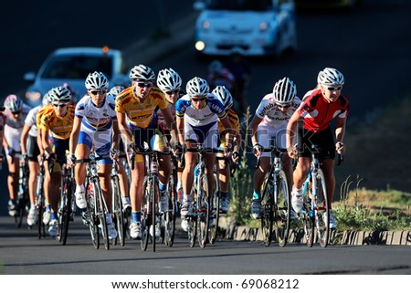BLOEMFONTEIN, SOUTH AFRICA -NOVEMBER 7: Unidentified cyclists during the annual OFM Classic cycle race on November 7, 2010 in Bloemfontein, South Africa.