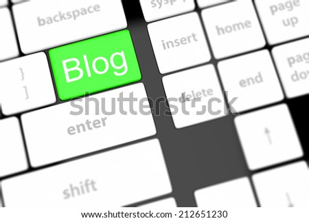 blog blogger or internet blogging concept with key
