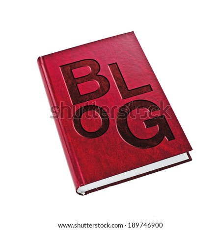 Blog Book. Hard cover book on white background with title blog. Blog diary concept