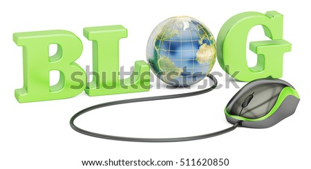 Blog concept, 3D rendering isolated on white background, Elements of this image furnished by NASA