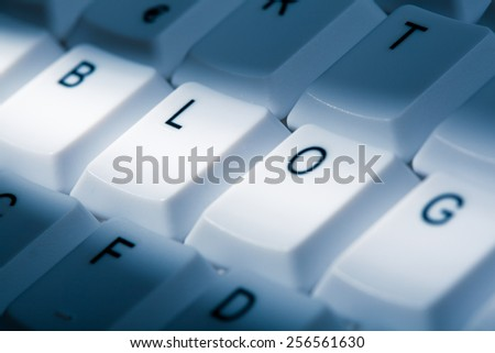 blog concept image on computer keyboard with lightray - stock photo