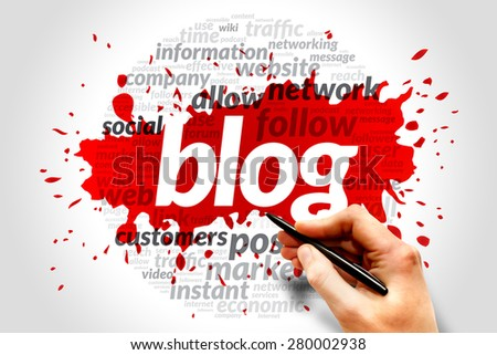 Blog concept in word tag cloud - stock photo