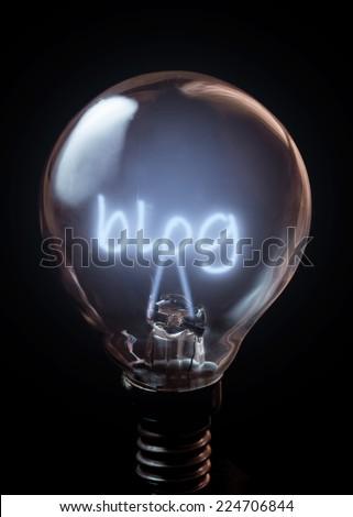 Blog illuminated bulb  - stock photo