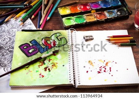 BLOG in watercolor - stock photo