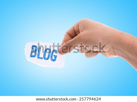 Blog piece of paper with blue background - stock photo