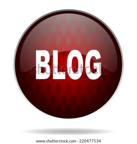 blog red glossy web icon on white background  - stock photo