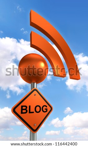 blog sign orange black with rss symbol on sky background. clipping path included