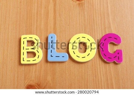BLOG, spell by woody puzzle letters with woody background - stock photo