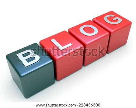 Blog tag on red cubes
