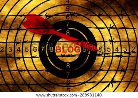Blog target on barbwire - stock photo