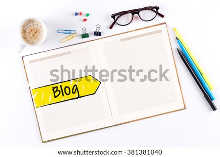 Blog text on notebook with copy space - stock photo