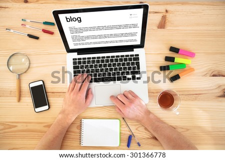 blog, top view of hands and keyboard - stock photo