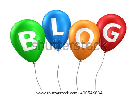 Blog, website and Internet concept with word and sign on colorful balloons 3D illustration isolated on white background. - stock photo