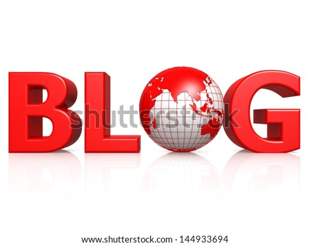 Blog with globe - stock photo