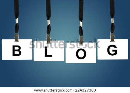 blog word on badge with blue background - stock photo