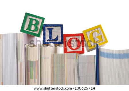 Blog word on book - stock photo