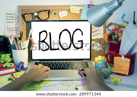 Blog Word On Laptop Screen in Office - stock photo