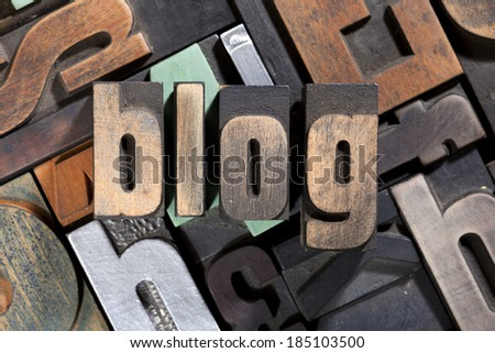 blog, word written with antique letterpress printing blocks on mixed letters background - stock photo