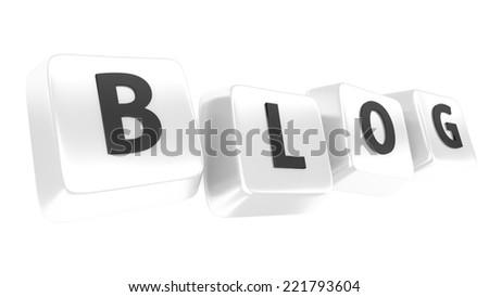 BLOG written in black on white computer keys. 3d illustration. Isolated background. - stock photo