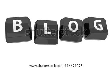 BLOG written in white on black computer keys. 3d illustration. Isolated background. - stock photo
