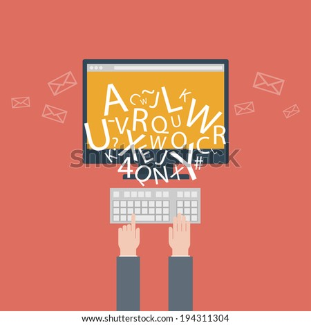 blogging and writing for website, email. illustration, flat design style with trendy icons, raster version - stock photo