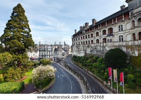 BLOIS, FRANCE -  MARCH 25, 2014: Panoramic view of Blois on the Loire River (France).