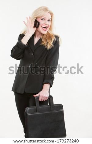 Blond attractive caucasian businesswoman - stock photo