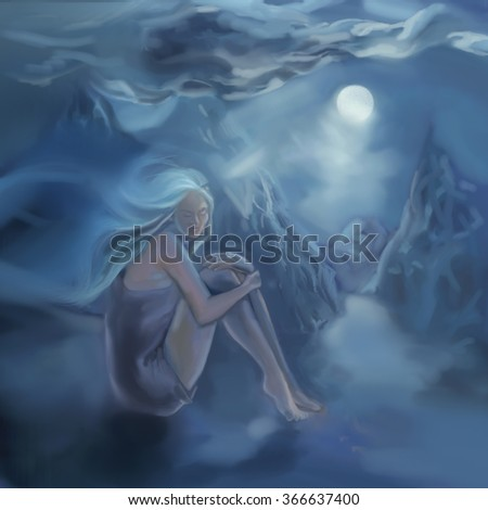 Blond beautiful girl sitting in the moon light. Digital painting. Illustration.