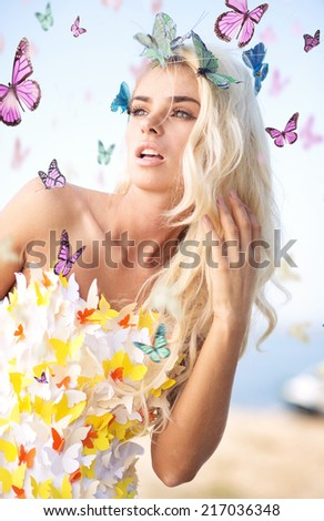 Blond beauty and butterflies