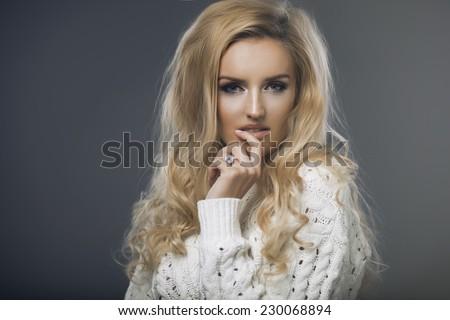 Blond beauty wear sweatshirt  - stock photo