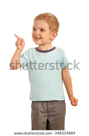 blond boy pointing finger to the side. Isolated ower white - stock photo