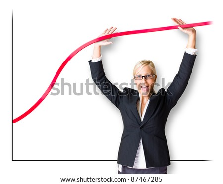 Blond business woman pushing the graph line upwards, isolated on white background. - stock photo