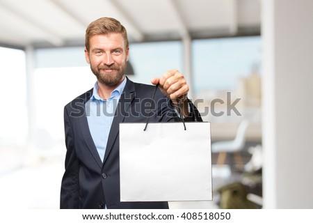 blond businessman happy expression - stock photo