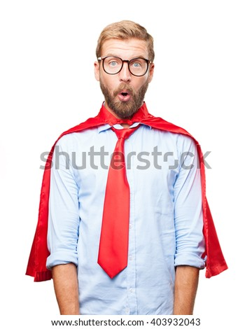 blond businessman surprised expression