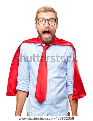 blond businessman surprised expression - stock photo