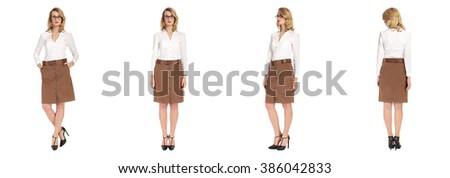 Blond businesswoman in suit on white isolated background in different poses