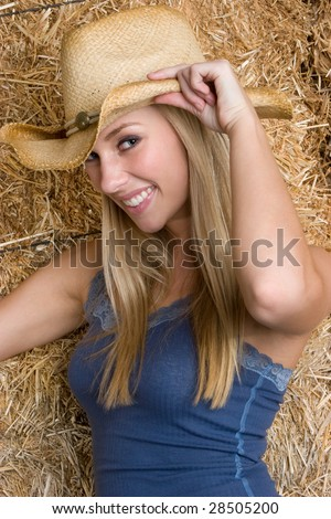 Blond Cowgirl - stock photo