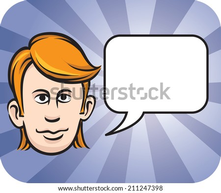 blond face with speech bubble - stock photo